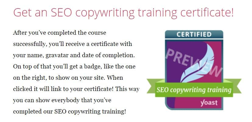 A picture showing the Yoast SEO Copywriting Training certificate badge.