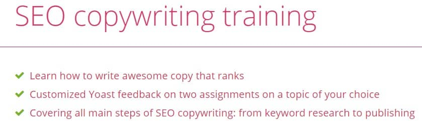 A picture showing the benefits of joining Yoast SEO Copywriting Training.
