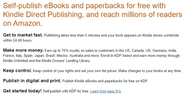 A screenshot from Amazon's Kindle Direct Publishing service showing the benefits of the program.