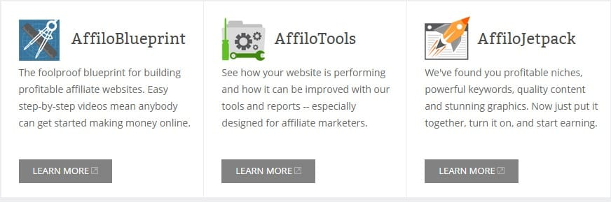 A picture showing three tools included in the Affilorama platform.