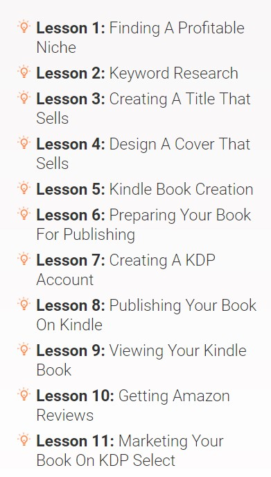 A screenshot showing the first 11 lessons of Kindle Money Mastery 2.0.