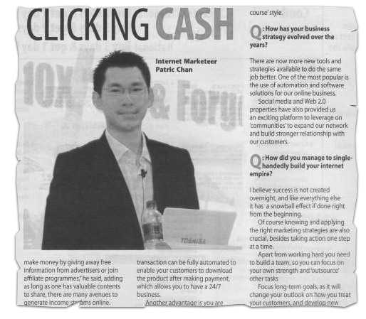A picture from CB Passive Income 4.0 showing Patric Chan featured in a news clip.