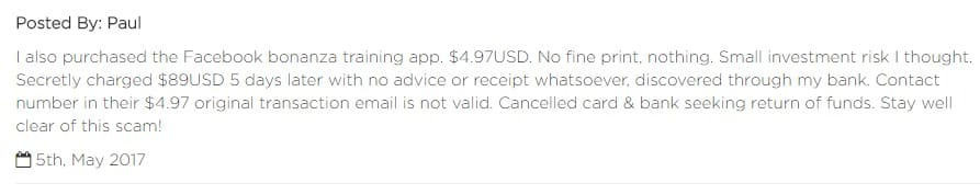 A Facebook Bonanza review mentioning hidden credit card charges.