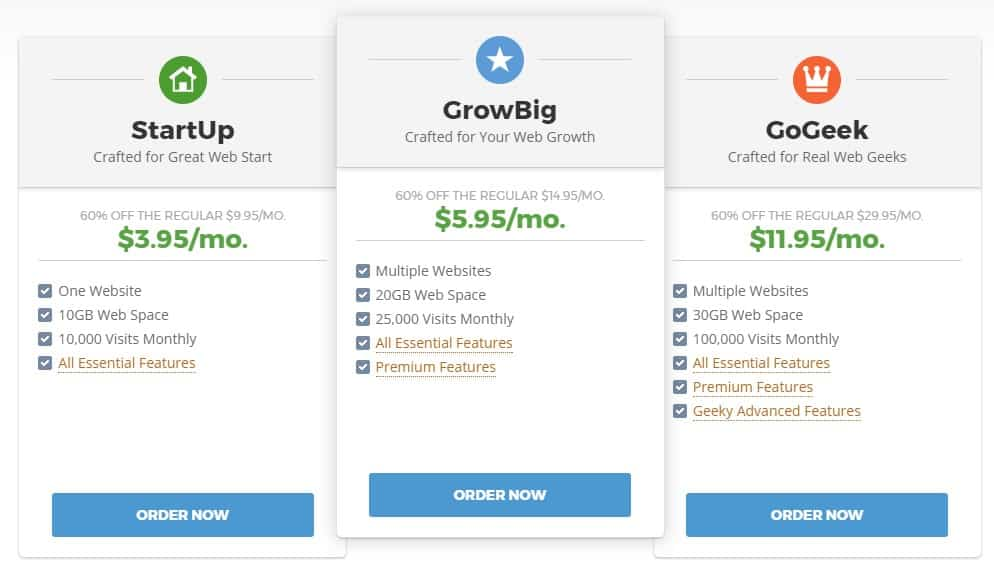 A screenshot showing Siteground's payment plans.