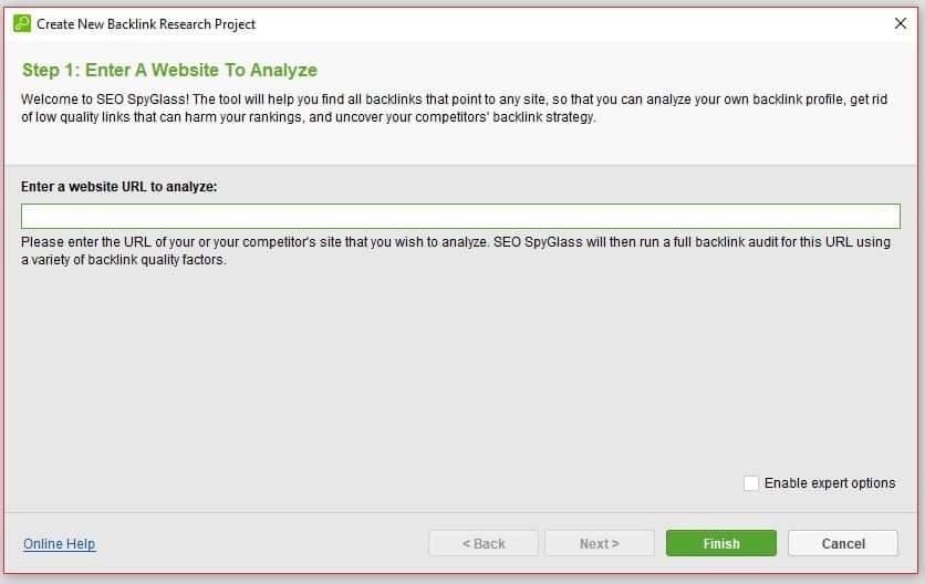 A screenshot from SEO Spyglass asking to enter a website address to analyze for backlinks.