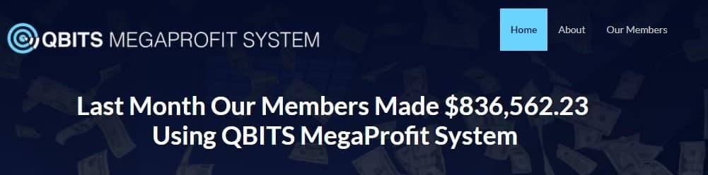 An image showing Q-Bits Mega Profit System homepage and description.