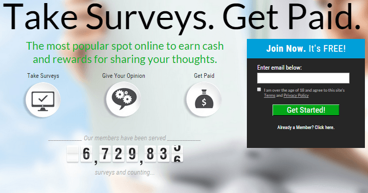 A picture of Survey Junkies homepage.