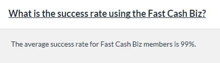 A image from Fast Cash Biz that says the success rate is 99%.
