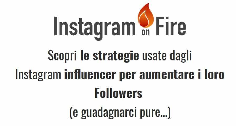 A screenshot of Instagram on Fire's homepage in Italian.