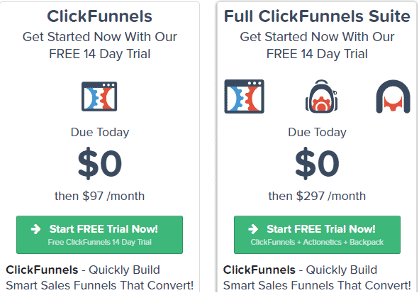 A screenshot from Clickfunnels showing their payment plans.