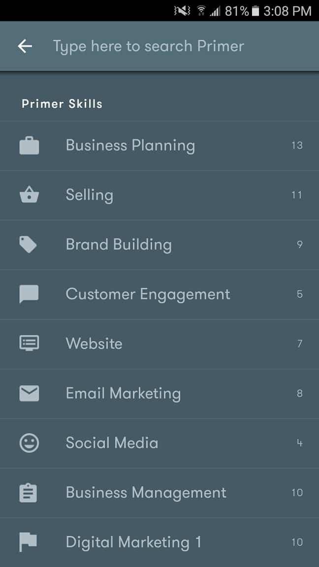A screenshot of Google Primer's app dashboard showing categories of skills.