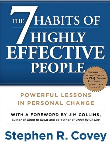 "The book cover for ""The 7 Habits of Highly Effective People"" another one of the best how to books for business."