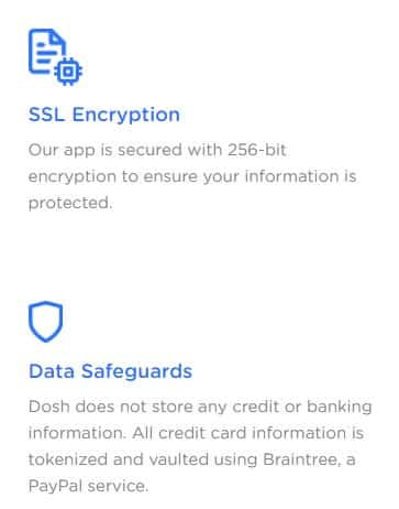 A screenshot showing two privacy features from Dosh App, SSL Encryption and Data Safeguards.