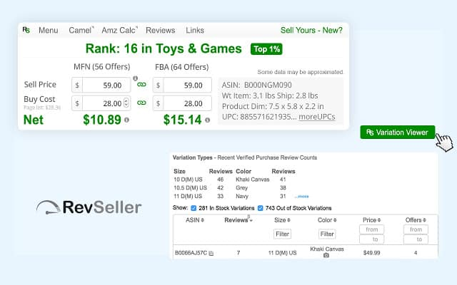 A screenshot of what is Rev Seller showing seller data for products