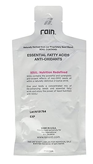 A picture of Rain International's main seed-based product called Soul.