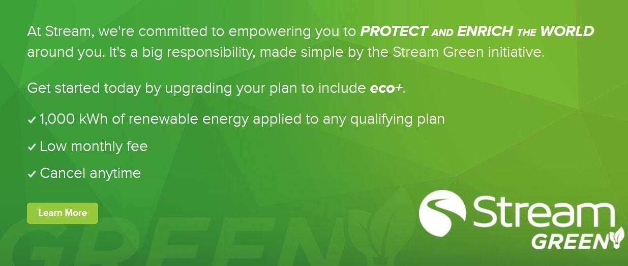 An notice from Stream Energy that says they're committed to renewable energy sources