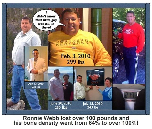 An advertisement for Xooma that claims a man lost over 100 pounds and increased his bone density