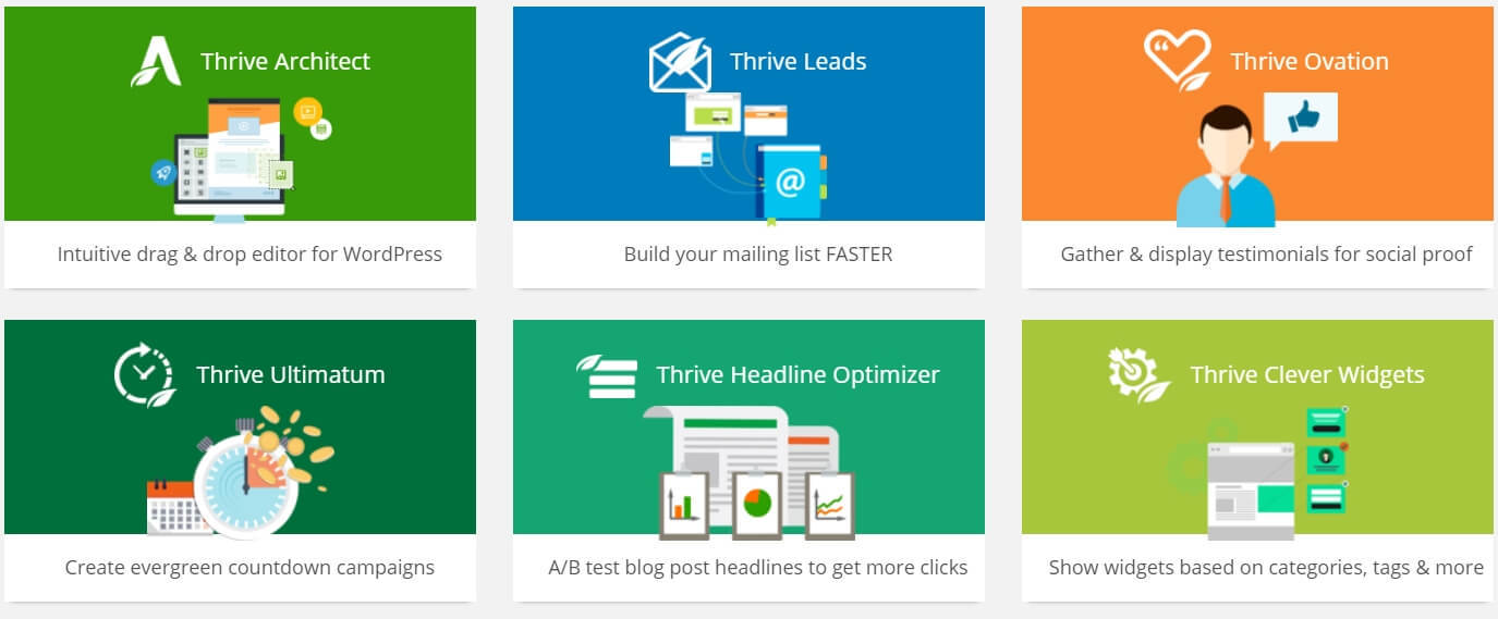 A screenshot of the six main products that are included with a Thrive Membership