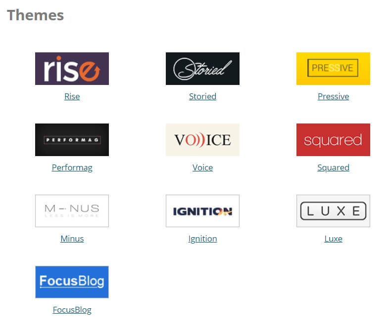 A list of professional WordPress themes included in the Thrive Membership for free