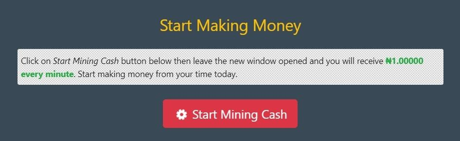 An image showing a description for MineNaira's Mining Cash feature
