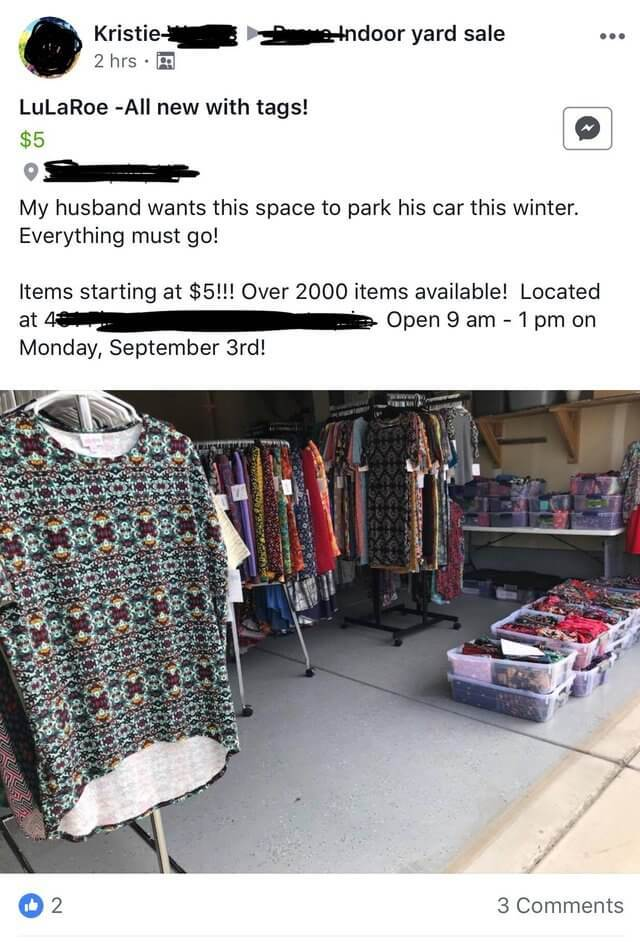 A ex-Lularoe seller tries to get rid of her inventory at a yard sale