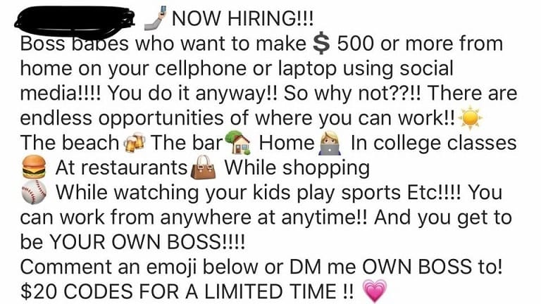 A post on Facebook advertising a pyramid scheme disguised as an opportunity