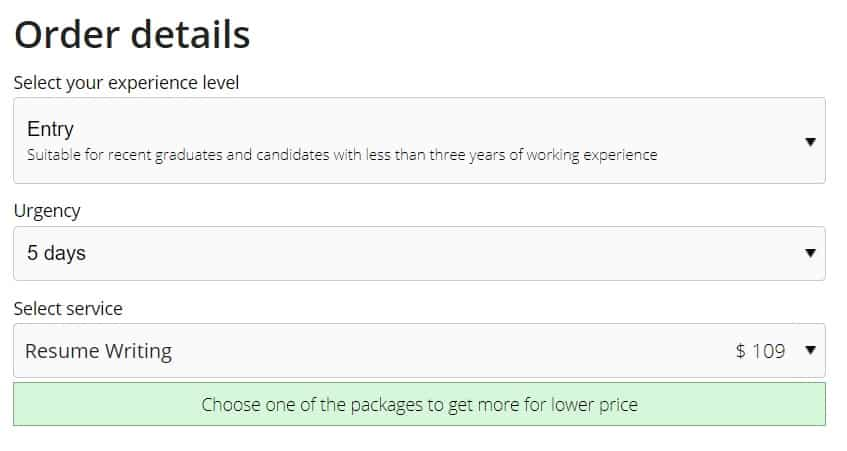 Resumes Planet's price for Entry level Resume Writing service, $109