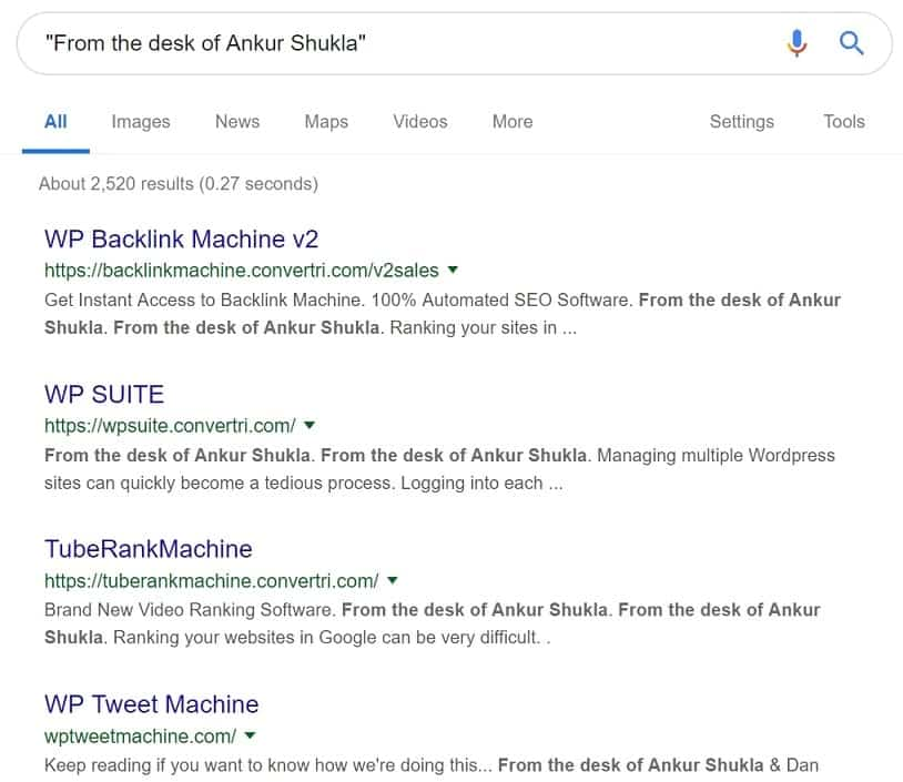 Google Search results reveal many similar products from the same creator of WP Affiliate Machine