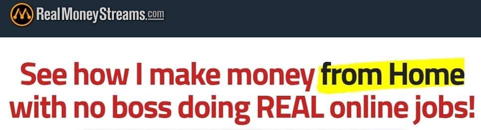 Real Money Streams website headline