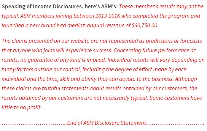 Amazing Selling Machine Disclosure Statement Image