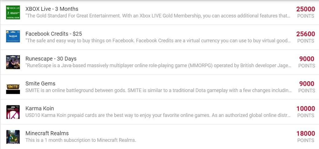 A list of Grab Points rewards you can redeem with points for Xbox Live, Facebook Credits, etc