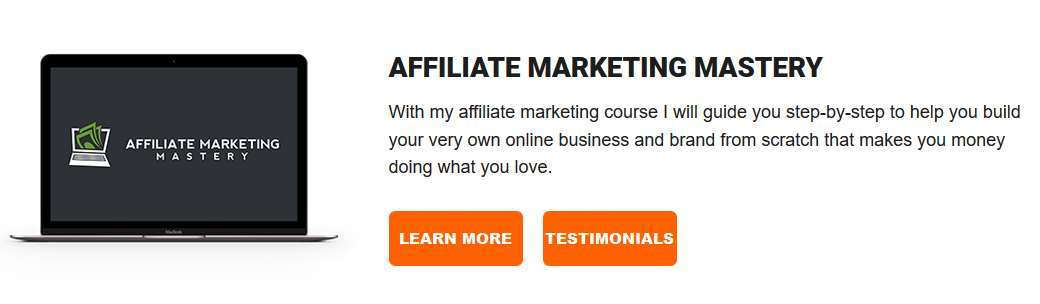 A screenshot of the affiliate marketing mastery logo with a description of the course.