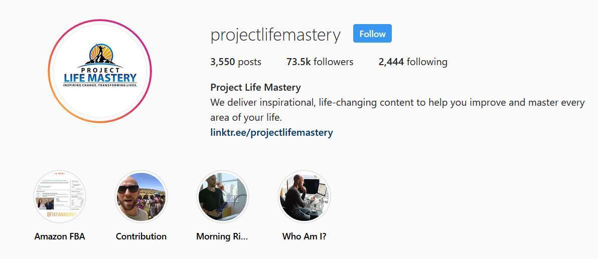 A screenshot with Project Life Master logo and links to the owners online profiles.