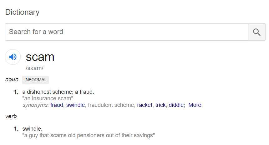 Screenshot of Dictionary definition of the word scam