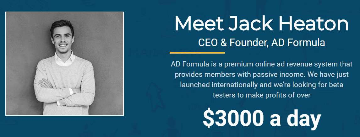 A picture of Jack Heaton, the so-called CEO and creator of Ad Formula.