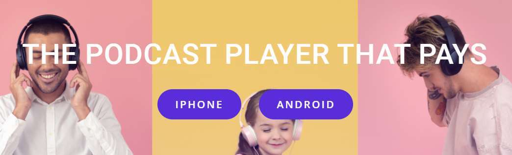 A screenshot from the Podcoin homepage showing the app stores it's on.