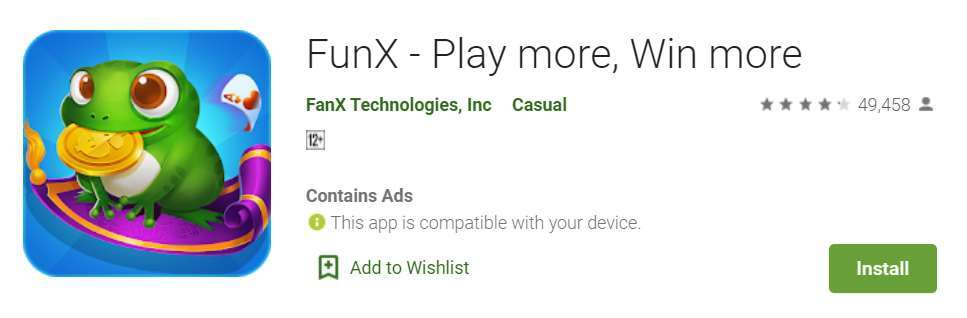A screenshot of FunX app in the Google Play store.
