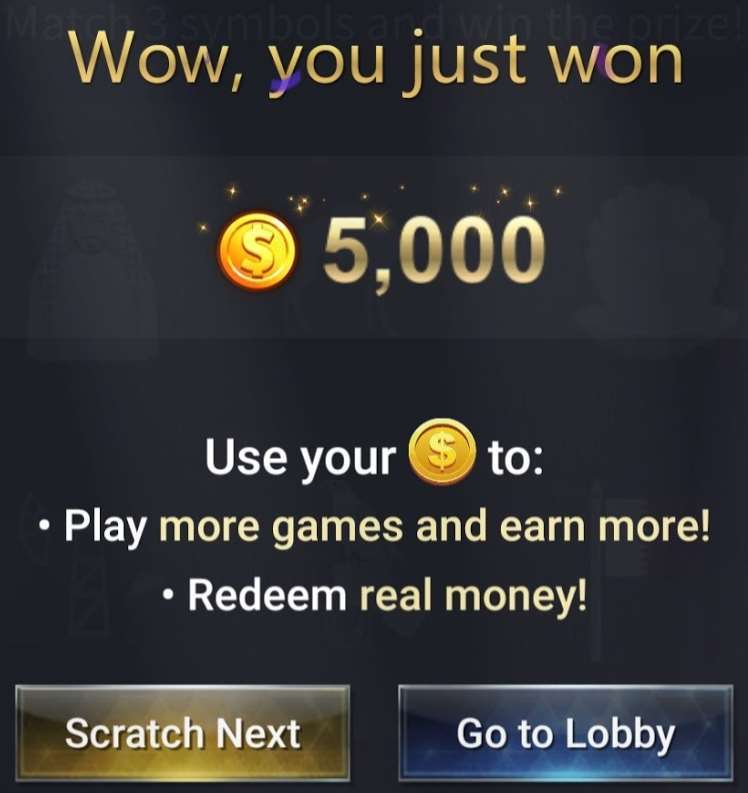 A screenshot from the FunX app showing 5,000 winnings.