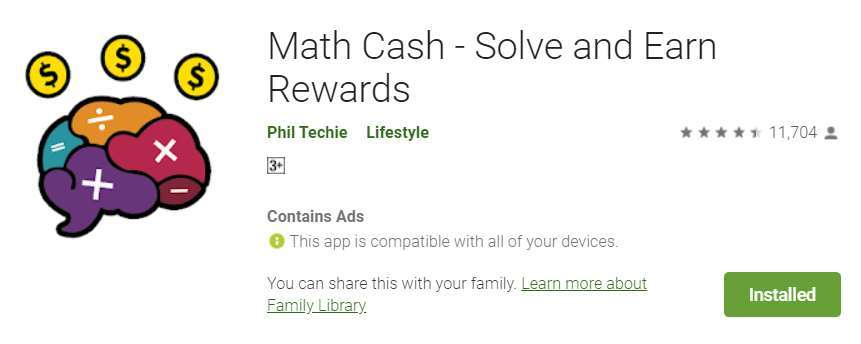 A screenshot the Math Cash app listing on Google Play.