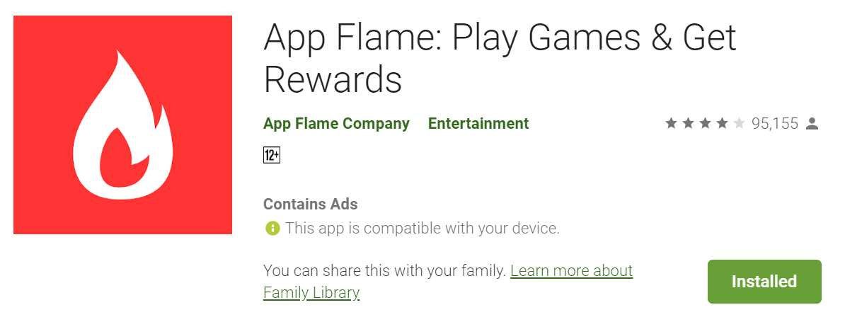 A screenshot of the App Flame listing in Google Play.