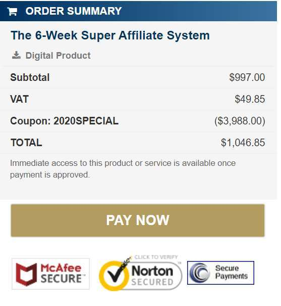 The price of Super Affiliate System 3.0
