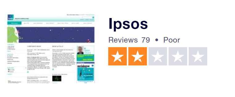 A screenshot of Ipsos survey rating on Trust Pilot.