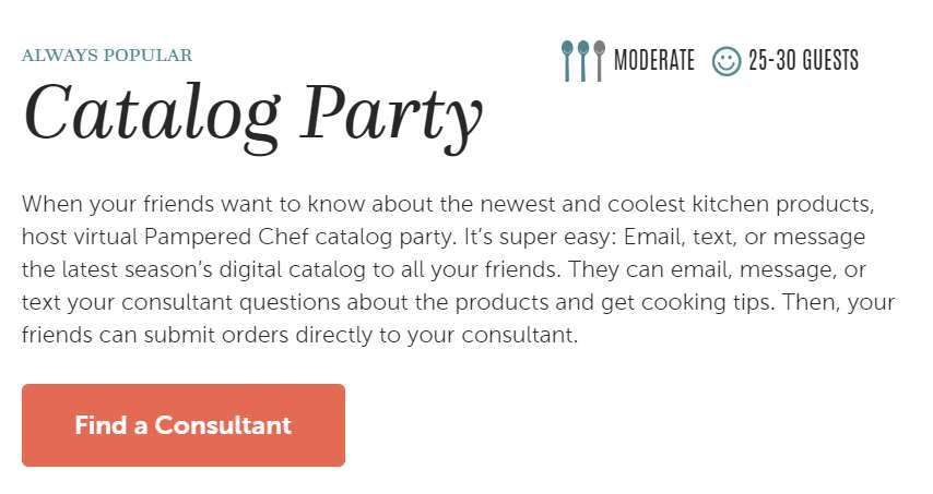 A screenshot showing how to promote Pampered Chef with a catalog party.