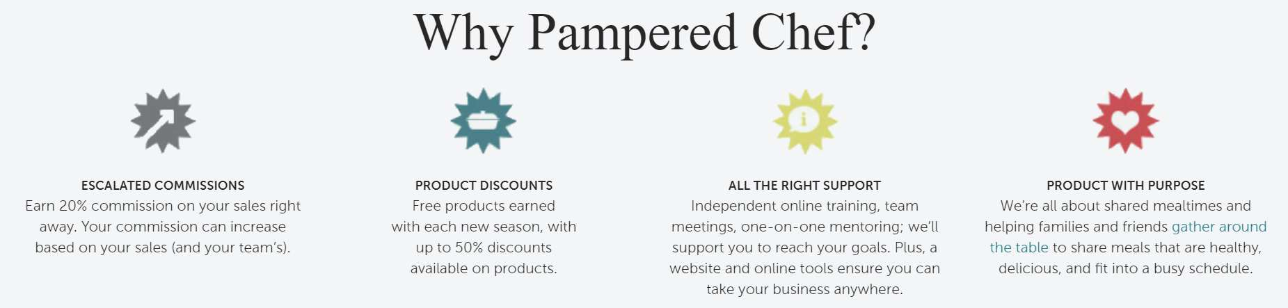 A screenshot of Pampered Chef's consultant benefits.