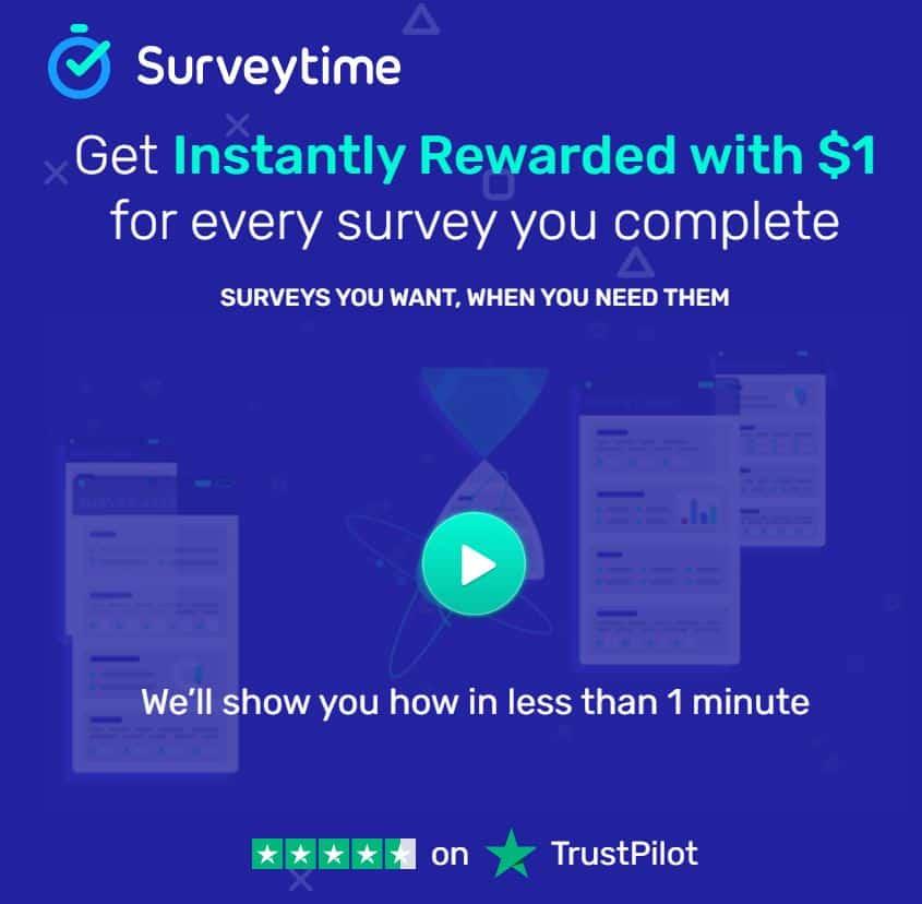 A screenshot of Survey Time IO's homepage.