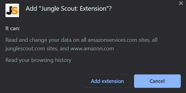 An image showing what permissions the extension requires